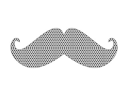 Simple Seamed Dotted Pattern Fashion Symbol of Hipster Mustache