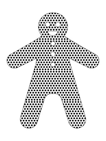 Simple Seamed Dotted Pattern Picture of a Christmas Ginger Bread Man