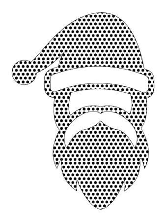 Simple Seamed Dotted Pattern Picture of a Christmas Santa Çizim