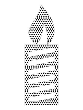 Simple Seamed Dotted Pattern Picture of a Christmas Candle