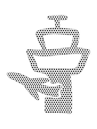 Simple Seamed Dotted Pattern Picture of a Airport Tower and Plane Logo  イラスト・ベクター素材