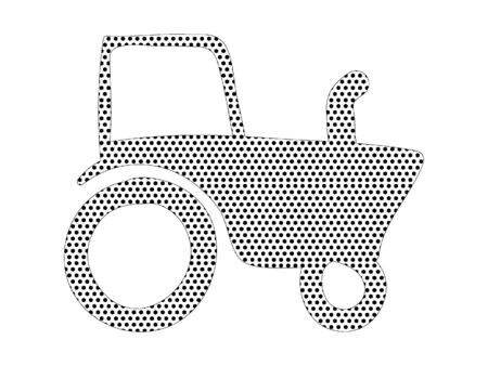 Simple Seamed Dotted Pattern Picture of a Tractor  イラスト・ベクター素材