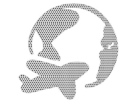 Simple Seamed Dotted Pattern Picture of a Globe and an Airplane Logo