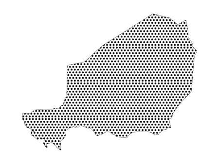 Simple Seamed Dotted Pattern Map of Niger  Ilustração