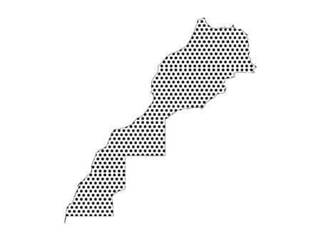 Mapa de patrón de puntos con costura simple de Marruecos Ilustración de vector