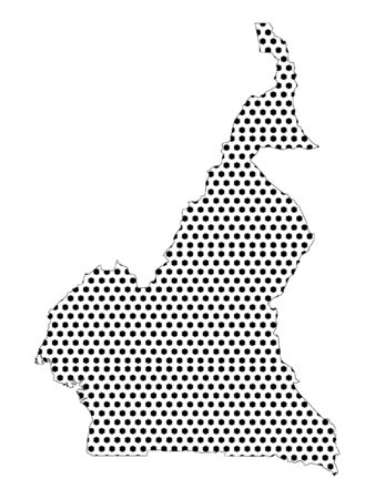 Simple Seamed Dotted Pattern Map of Cameroon