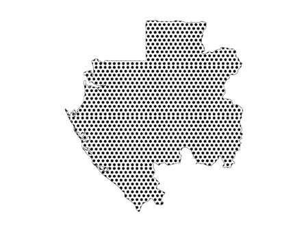 Simple Seamed Dotted Pattern Map of Gabon  イラスト・ベクター素材