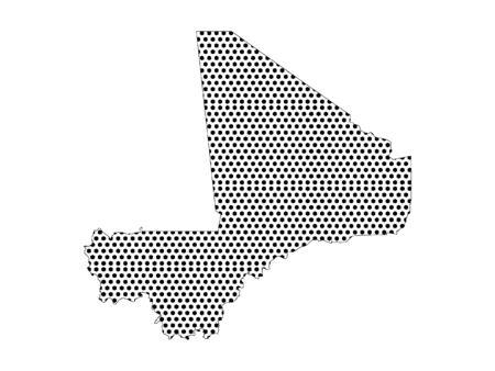 Simple Seamed Dotted Pattern Map of Mali Ilustração