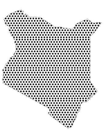 Simple Seamed Dotted Pattern Map of Kenya