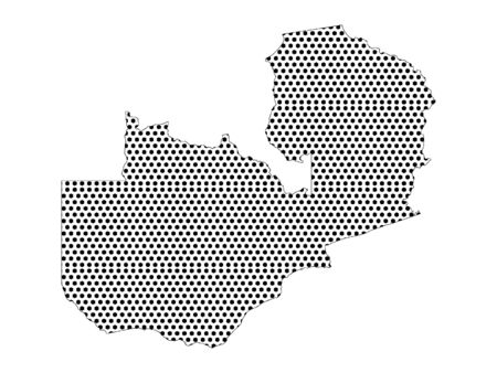 Simple Seamed Dotted Pattern Map of Zambia