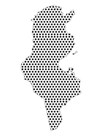Simple Seamed Dotted Pattern Map of Tunisia Ilustração