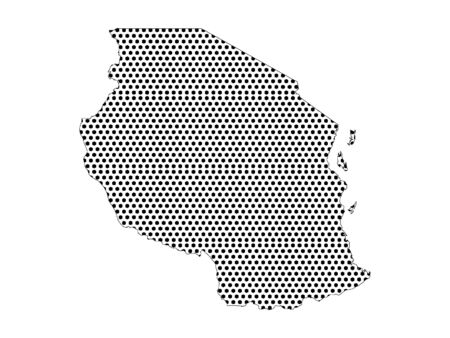 Simple Seamed Dotted Pattern Map of Tanzania