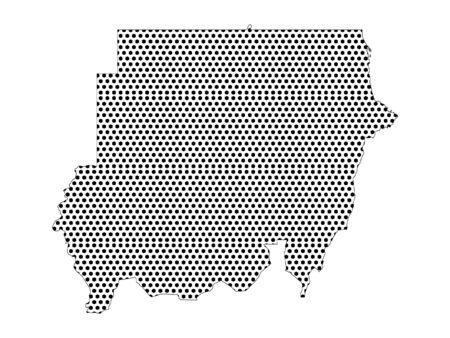 Simple Seamed Dotted Pattern Map of Sudan Illusztráció