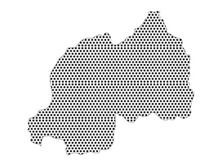 Simple Seamed Dotted Pattern Map of Rwanda