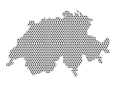 Simple Seamed Dotted Pattern Map of Switzerland