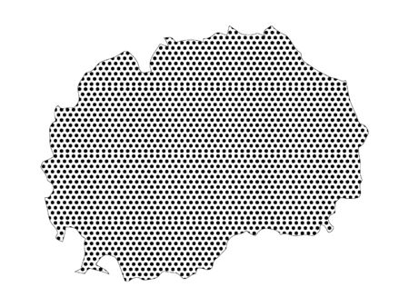 Simple Seamed Dotted Pattern Map of North Macedonia Ilustrace