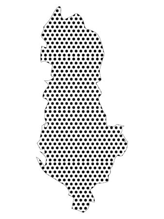 Simple Seamed Dotted Pattern Map of Albania