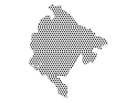 Simple Seamed Dotted Pattern Map of Montenegro Ilustracja