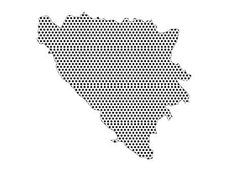Simple Seamed Dotted Pattern Map of Bosnia and Herzegovina