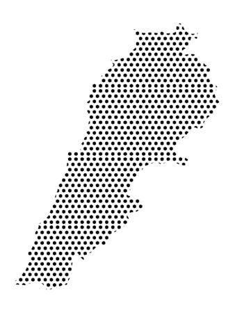 Simple Seamed Dotted Pattern Map of Lebanon (LoFi) Ilustrace