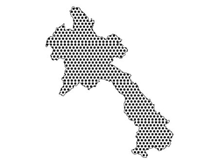 Simple Seamed Dotted Pattern Map of Laos Ilustrace