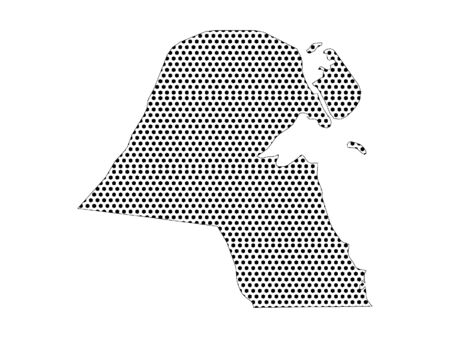 Simple Seamed Dotted Pattern Map of Kuwait (LoFi)