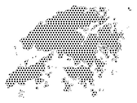 Simple Seamed Dotted Pattern Map of Hong Kong Ilustrace