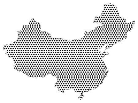 Simple Seamed Dotted Pattern Map of China