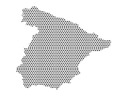 Simple Seamed Dotted Pattern Map of Spain Ilustrace
