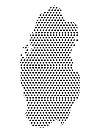 Simple Seamed Dotted Pattern Map of Qatar Ilustrace