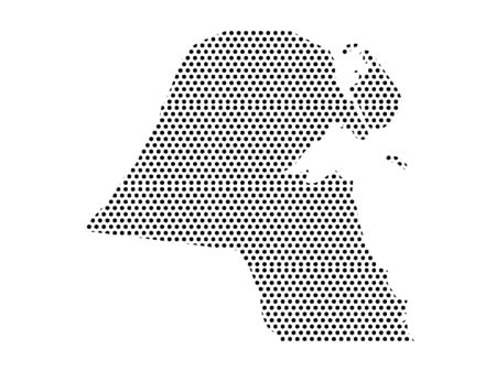Simple Seamed Dotted Pattern Map of Kuwait