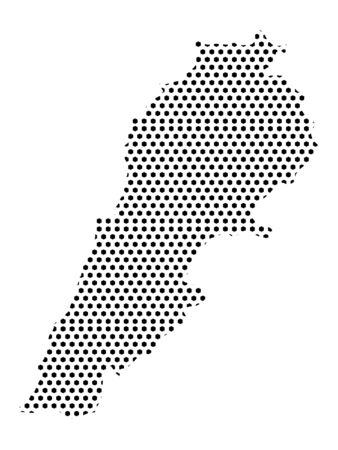Simple Seamed Dotted Pattern Map of Lebanon Ilustrace