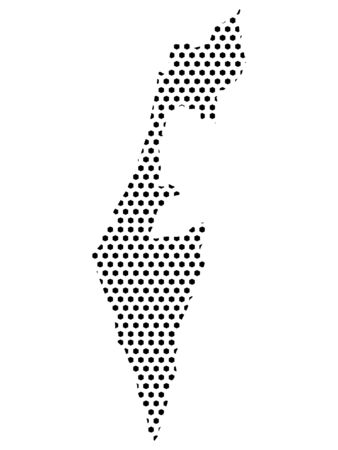 Simple Seamed Dotted Pattern Map of Israel