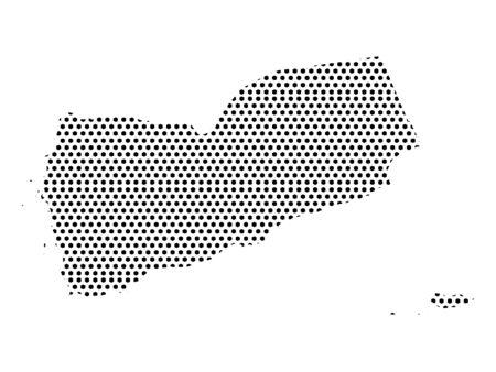 Mappa dello Yemen con motivo punteggiato cucito semplice