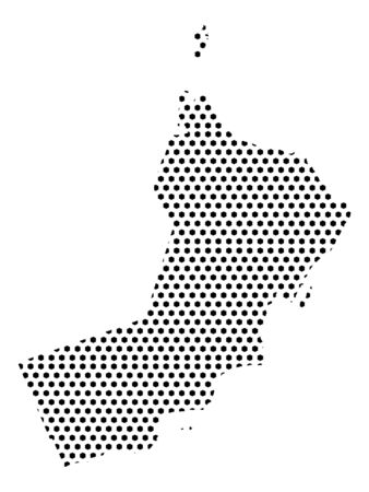 Simple Seamed Dotted Pattern Map of Oman Ilustrace