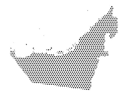 Simple Seamed Dotted Pattern Map of United Arab Emirates Illustration