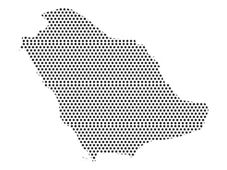 Simple Seamed Dotted Pattern Map of Saudi Arabia Ilustrace