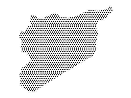 Simple Seamed Dotted Pattern Map of Syria