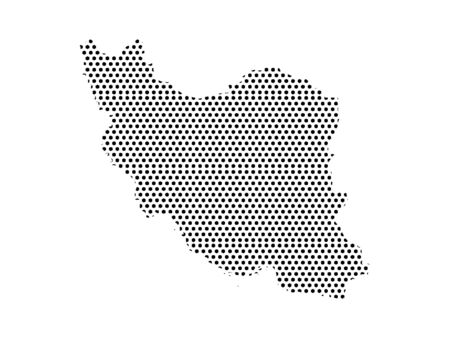 Simple Seamed Dotted Pattern Map of Iran Ilustrace