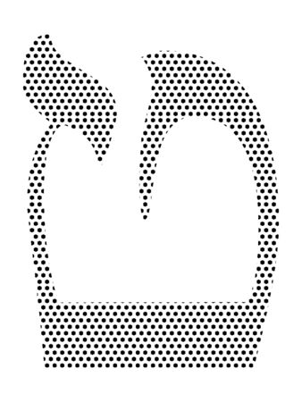 Simple Seamed Dotted Pattern Image of the Hebrew Alphabet Letter Tet