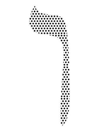 Simple Seamed Dotted Pattern Image of the Hebrew Alphabet Letter Nun
