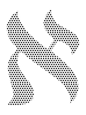 Simple Seamed Dotted Pattern Image of the Hebrew Alphabet Letter Alef
