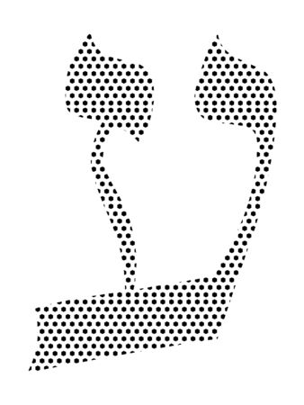 Simple Seamed Dotted Pattern Image of the Hebrew Alphabet Letter Ayin