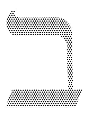 Simple Seamed Dotted Pattern Image of the Hebrew Alphabet Letter Beit