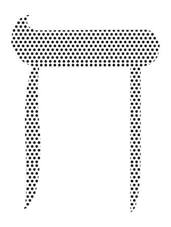 Simple Seamed Dotted Pattern Image of the Hebrew Alphabet Letter Cheit
