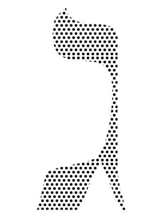 Simple Seamed Dotted Pattern Image of the Hebrew Alphabet Letter Gimel Ilustrace