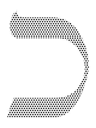 Simple Seamed Dotted Pattern Image of the Hebrew Alphabet Letter Kaf