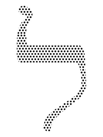 Simple Seamed Dotted Pattern Image of the Hebrew Alphabet Letter Lamed