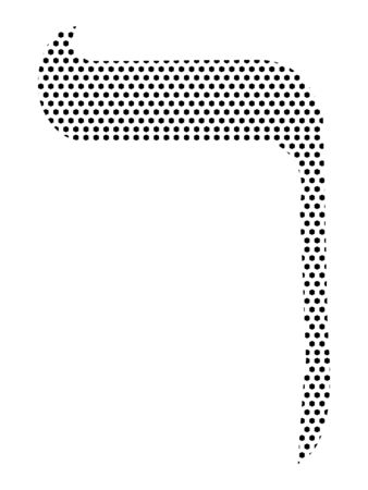 Simple Seamed Dotted Pattern Image of the Hebrew Alphabet Letter Reish