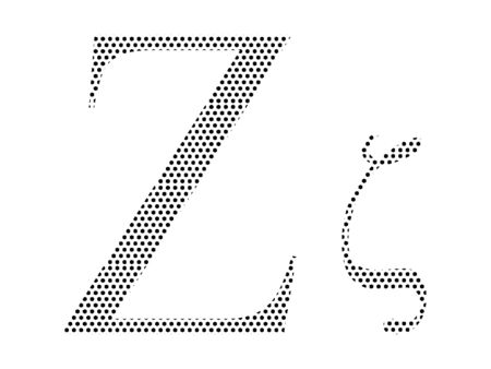 Simple Seamed Dotted Pattern Image of the Greek Alphabet Letter Zeta